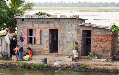Ordinary life on Backwaters in Kerala (India)