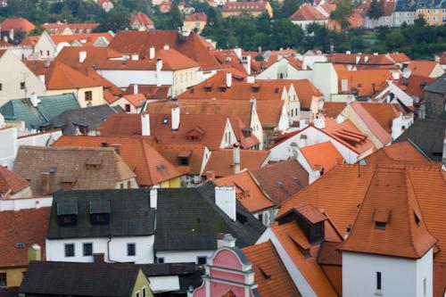 Český Krumlov - roofs in the city centre