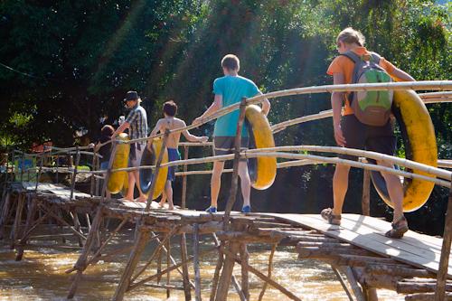 Tubing on Nam Song river in Laos - start