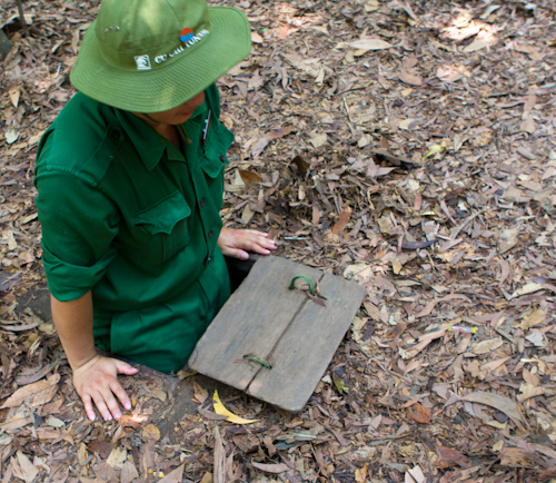 Vietcong soldier - demonstration at Chu-chi tunnels